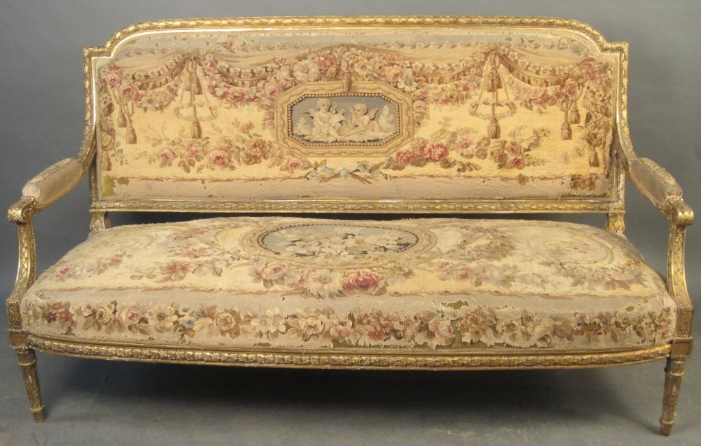 Louis XVI Style Aubusson Settee, French 19th C