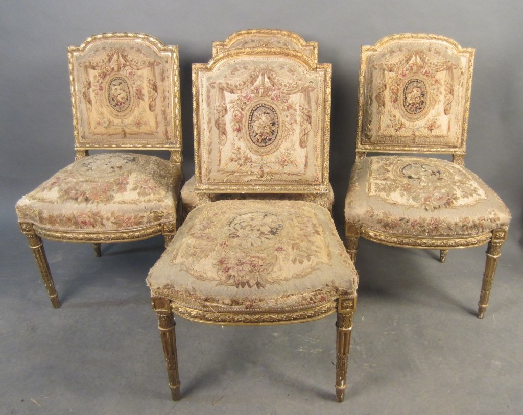 Set of 4 Aubusson Side Chairs, 19th C French