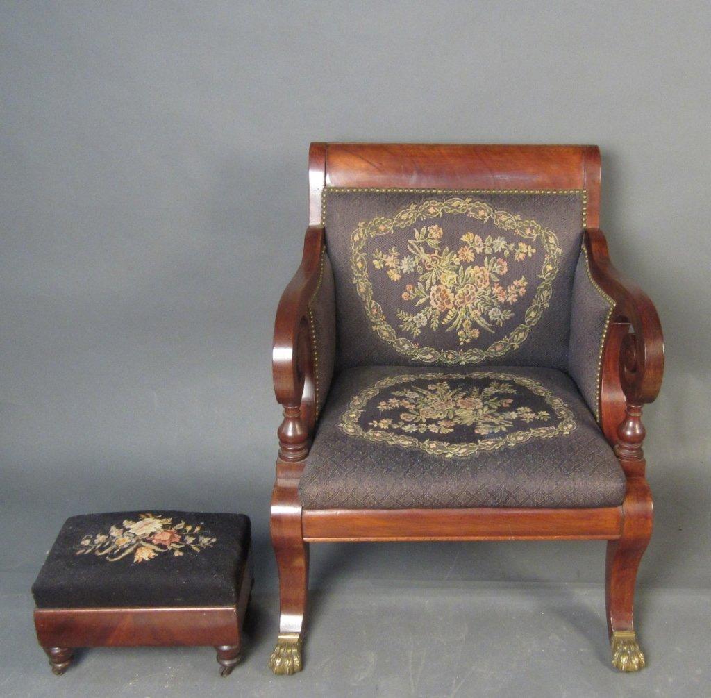 French Empire Mahogany Arm Chair & Ottoman