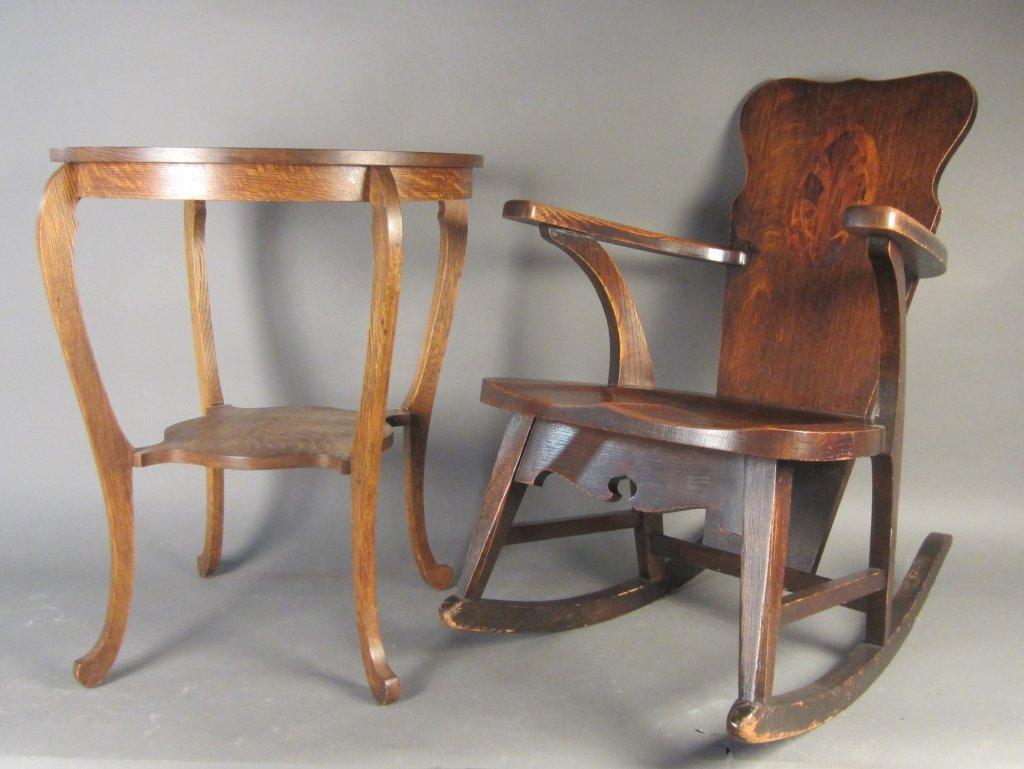 Oak Rocking Chair & Table