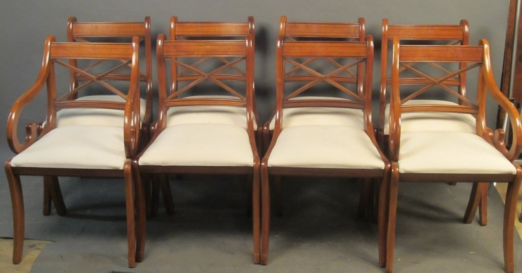 Set of 8 Contemporary Regency Style Dining Chairs
