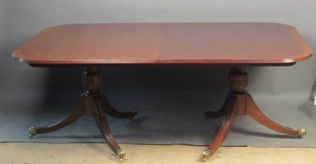 Baker Double Pedestal Dining Table w/ 2 Leaves
