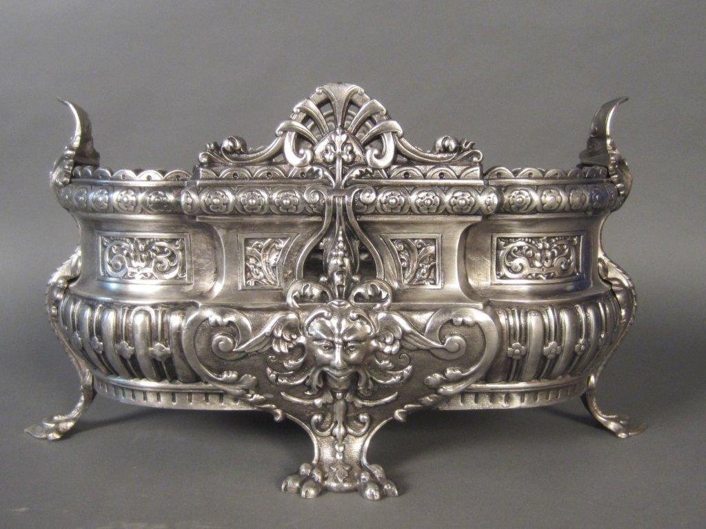 Silver over Bronze Planter, 19th C