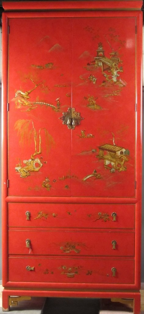 15: Large Chinoiserie Red Lacquered Cabinet