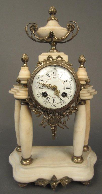 Bronze and White Marble Pillar Clock, 19th C