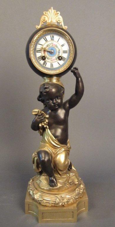 Figural Dore & Patinated Bronze Cherub Ball Clock