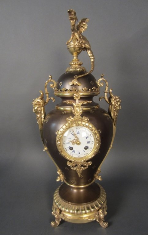 Dore & Patinated Bronze Gothic Revival Clock
