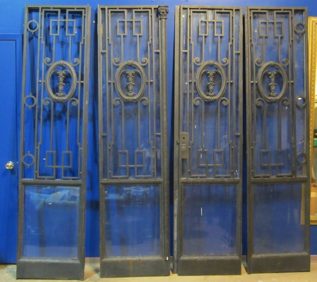 4 French iron architectural doors, Circa 1890