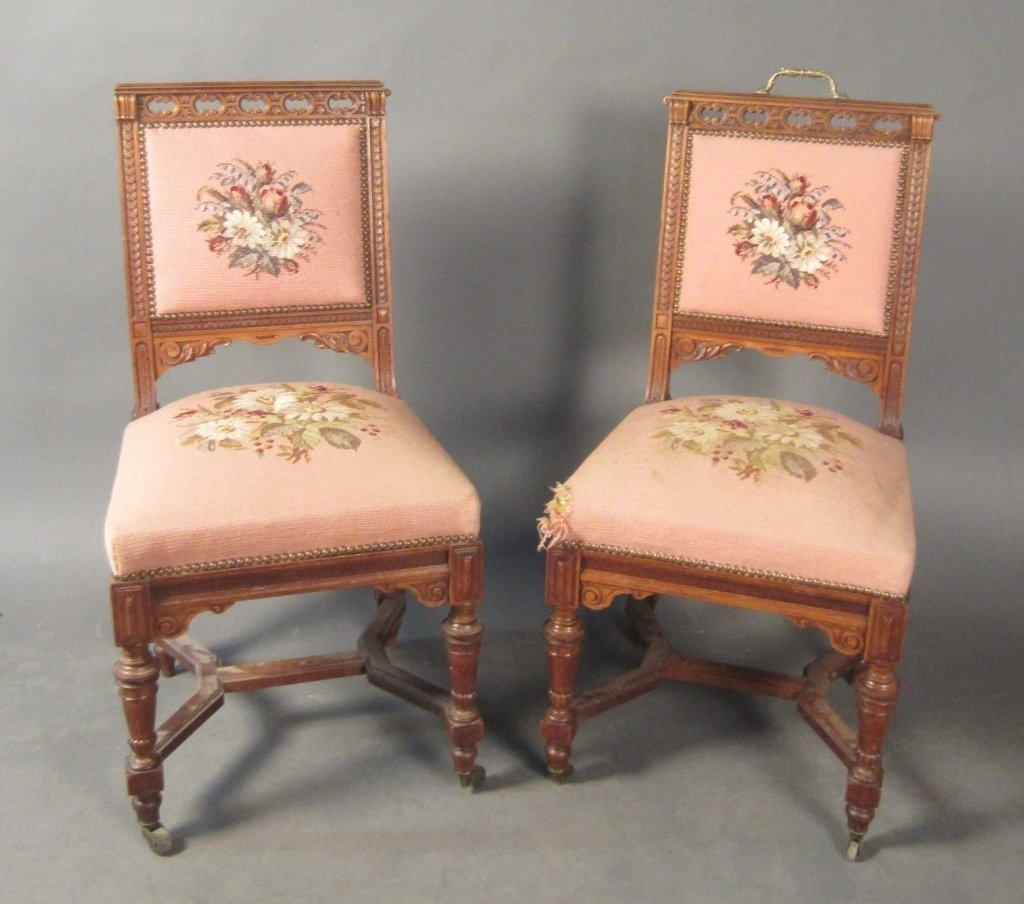 Pair Walnut Chairs w/ Needle Point Upholstry