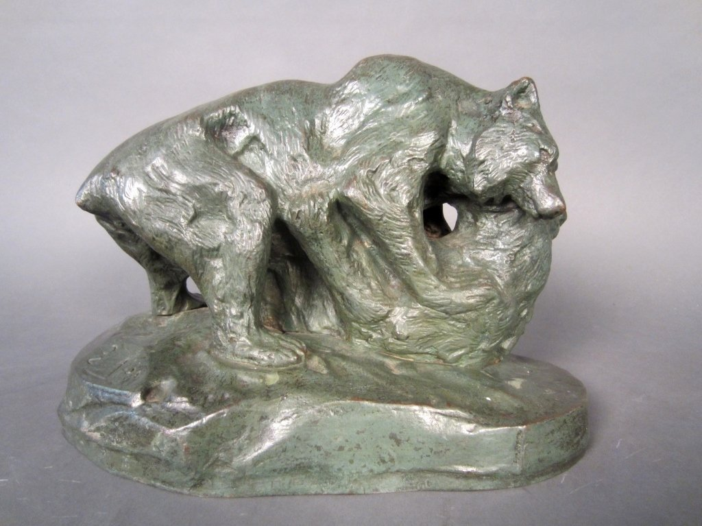 Patinated Bronze of 2 Bears, Signed: G. Alba