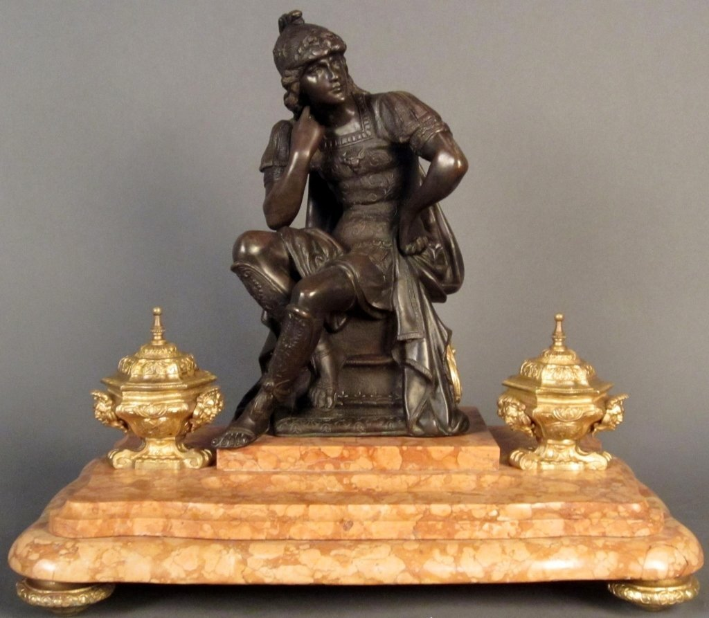 Patinated & Gilt Bronze Figural Inkwell on Marble