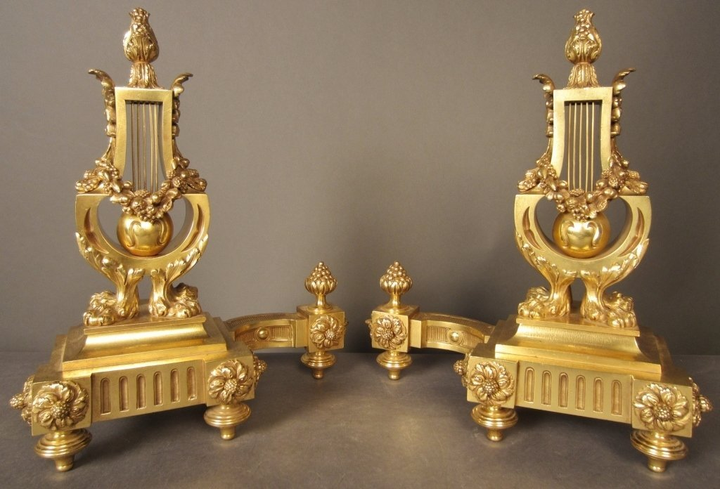 Pair French Dore over Bronze Chenets, 19th C