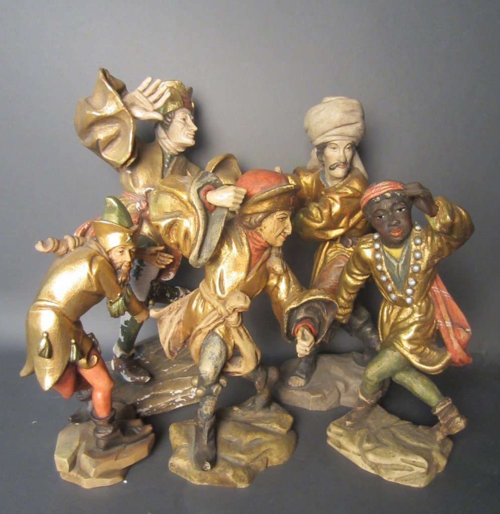 Group of Polychrome Wood Jesters