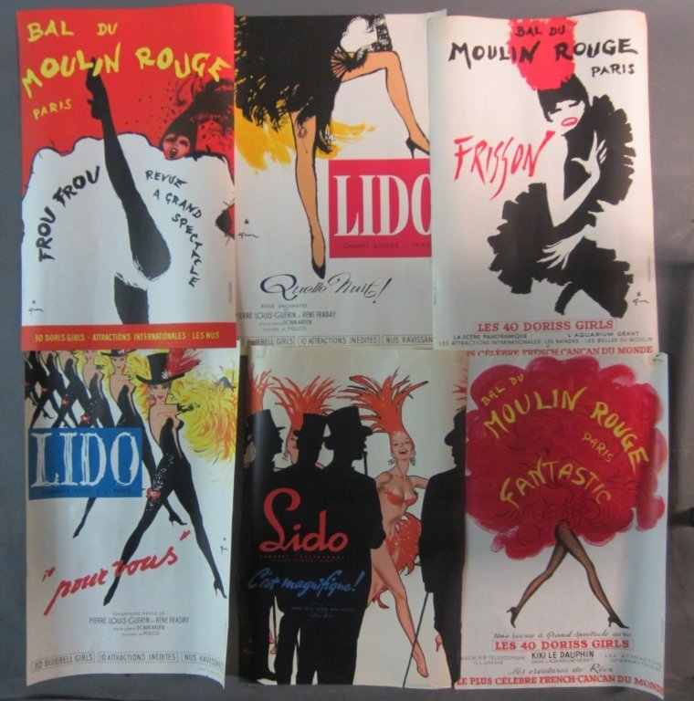 Collection of 6 Rene Gruau Lido Fashion Ad Posters