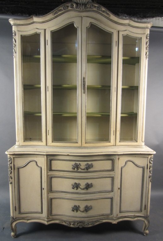 Painted French Provincial China Cabinet