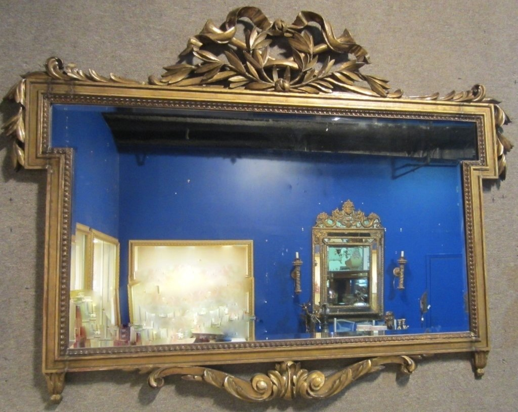Louis XVI Style Gilt and Carved Wood Mirror