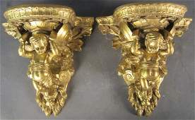 Pair Gilt Wood Figural Shelves/ Brackets