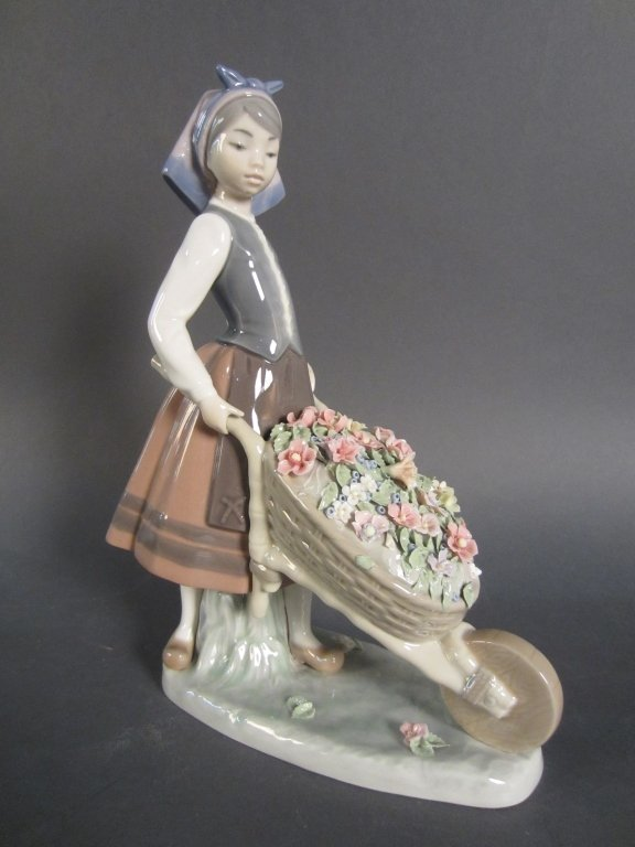 Lladro Girl with Wheelbarrow of Flowers