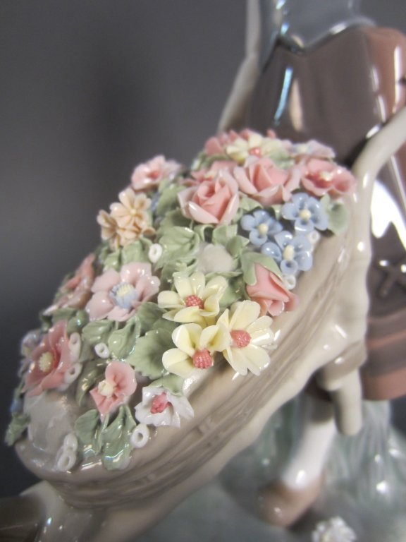 Lladro Girl with Wheelbarrow of Flowers - 3