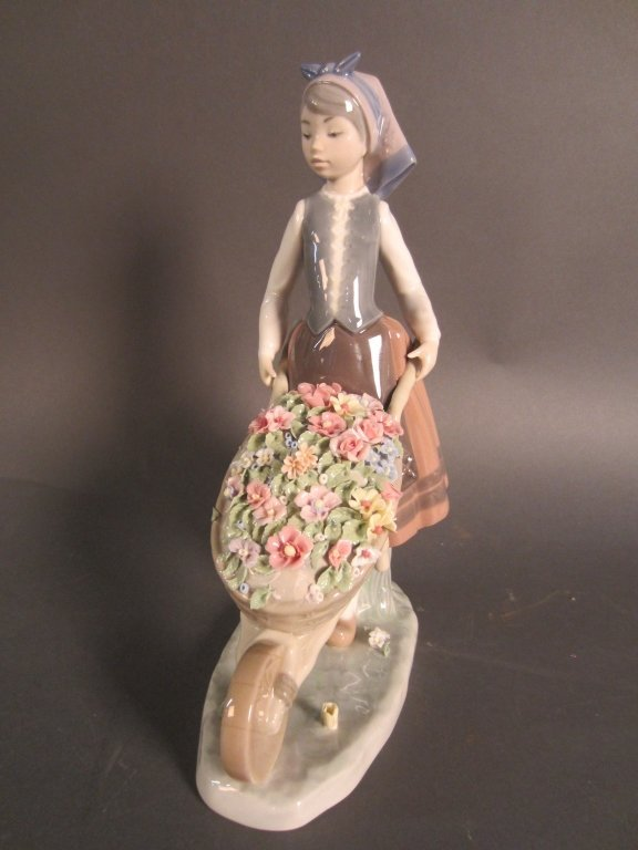 Lladro Girl with Wheelbarrow of Flowers - 7