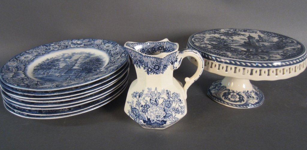 Collection of Blue & White Enameled Porcelain