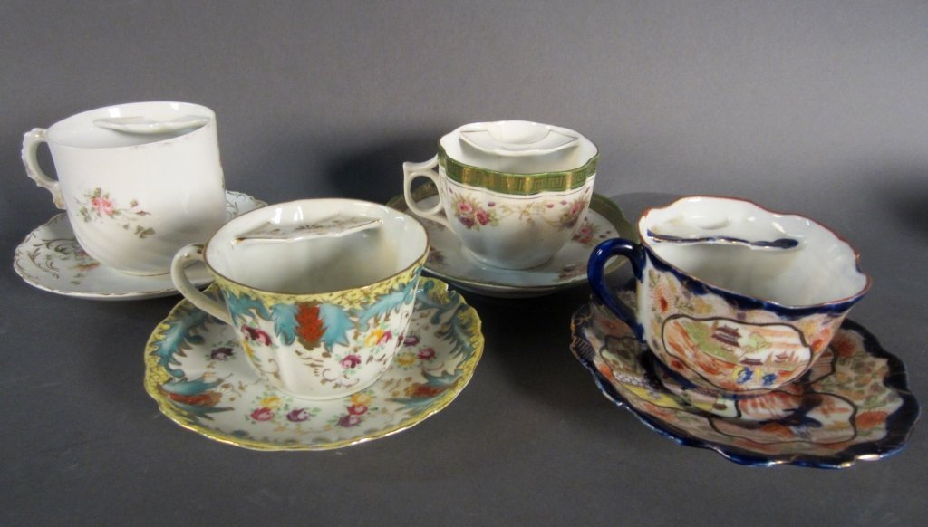 Collection of Mustache Cups and Matching Saucers