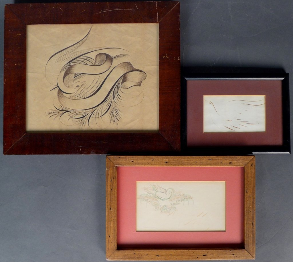 Collection of 3 Pieces of American Calligraphy
