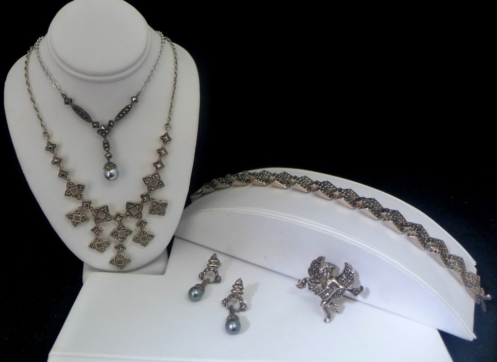 Collection of Sterling Silver & Marcasite Jewelry