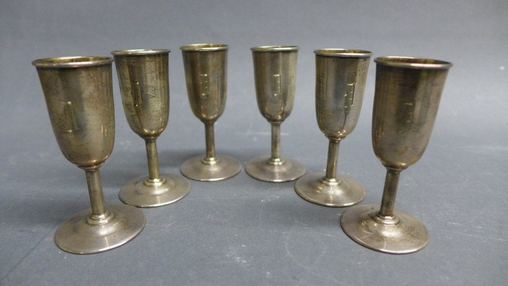 Set of 6 Sterling Silver Cordial Aperitif Glasses