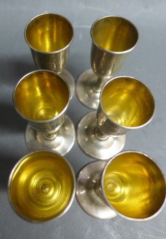 Set of 6 Sterling Silver Cordial Aperitif Glasses - 3