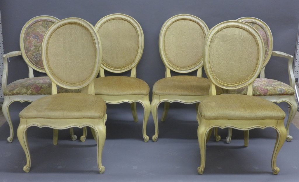 6 Painted French Country Cottage Dining Chairs