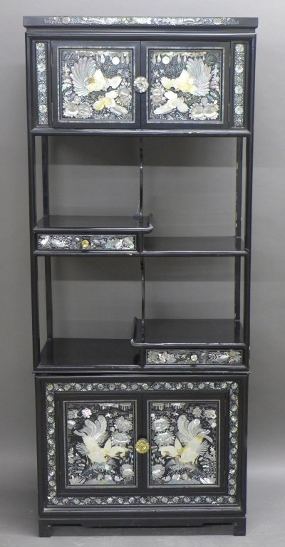 Korean Black Lacquer and Mother of Pearl Cabinet
