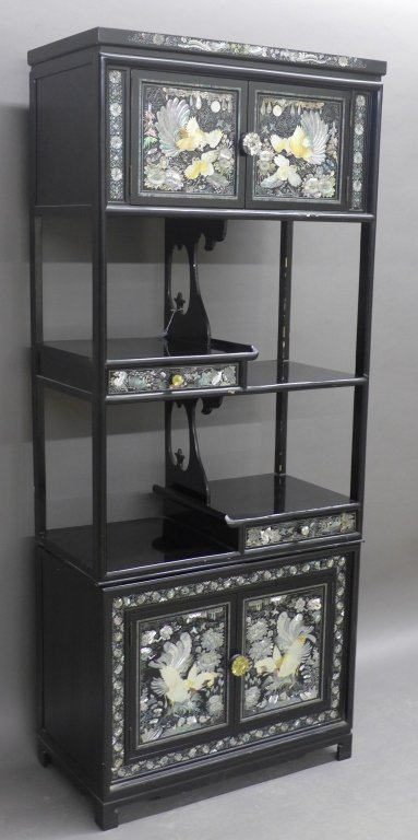 Korean Black Lacquer and Mother of Pearl Cabinet - 2