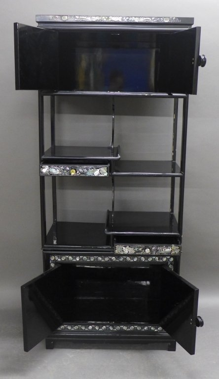 Korean Black Lacquer and Mother of Pearl Cabinet - 7