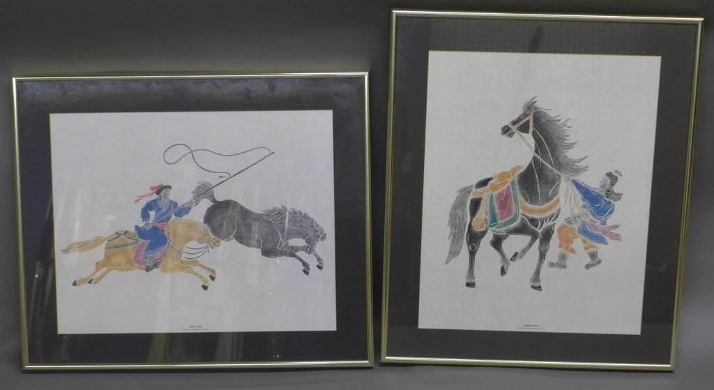 Pair Chinese Figural Prints From Stone Rubbings