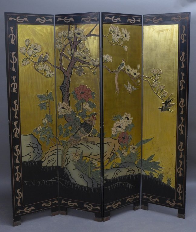 Black Lacquer & Polychrome Asian/Oriental Floor Screen