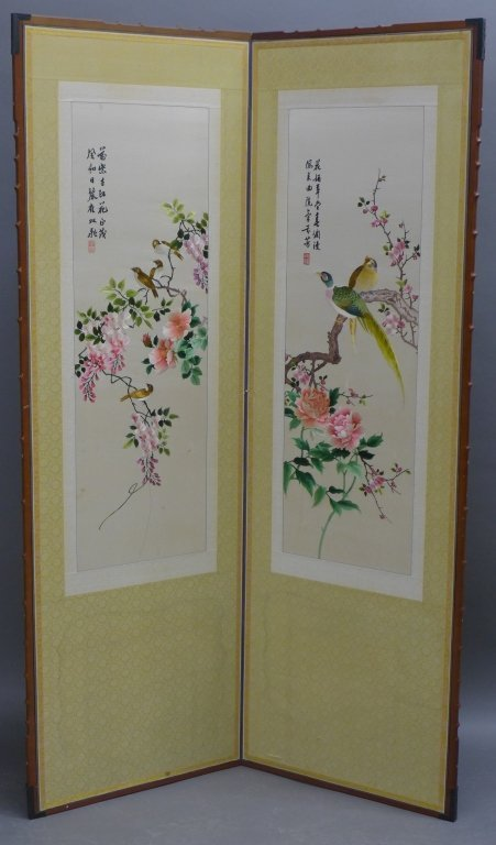 Chinese Embroidered Scrolls Mounted on Screen