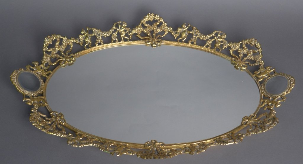 Gilt Dresser Vanity Tray With Mirror