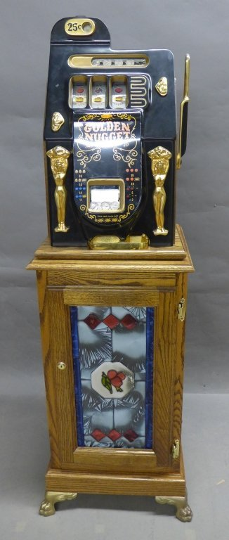 Golden Nugget Vintage Slot Machine with Stand