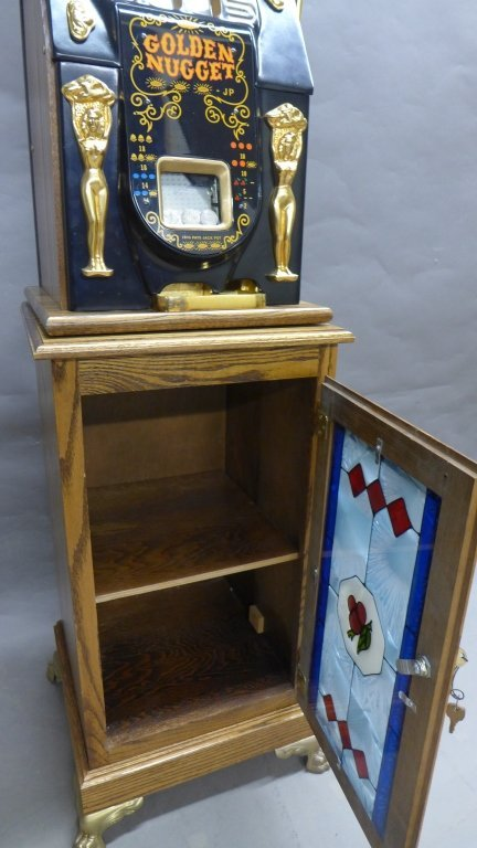 Golden Nugget Vintage Slot Machine with Stand - 3