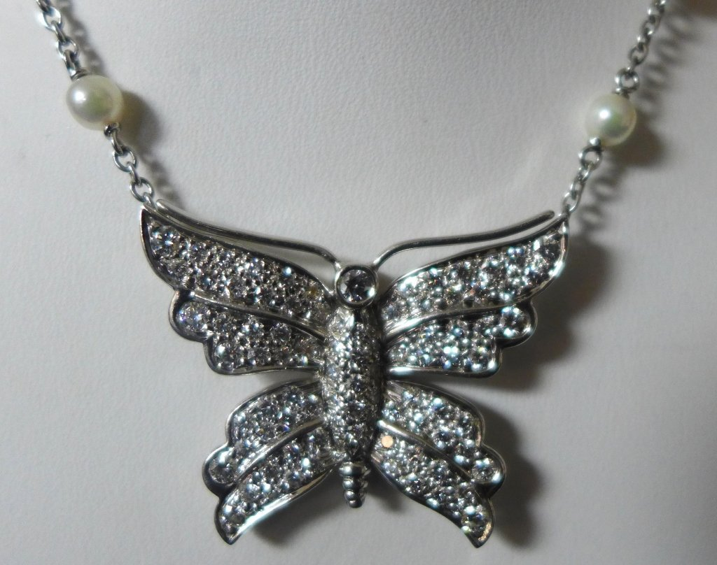 Tiffany and Company Platinum Butterfly Necklace - 2