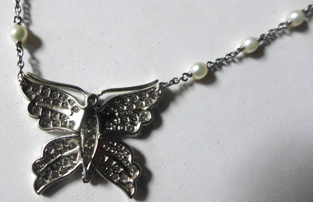 Tiffany and Company Platinum Butterfly Necklace - 3