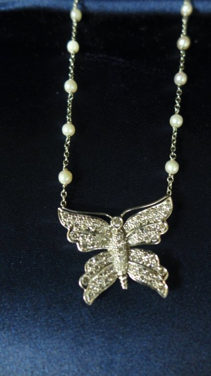 Tiffany and Company Platinum Butterfly Necklace - 4