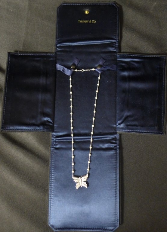 Tiffany and Company Platinum Butterfly Necklace - 5