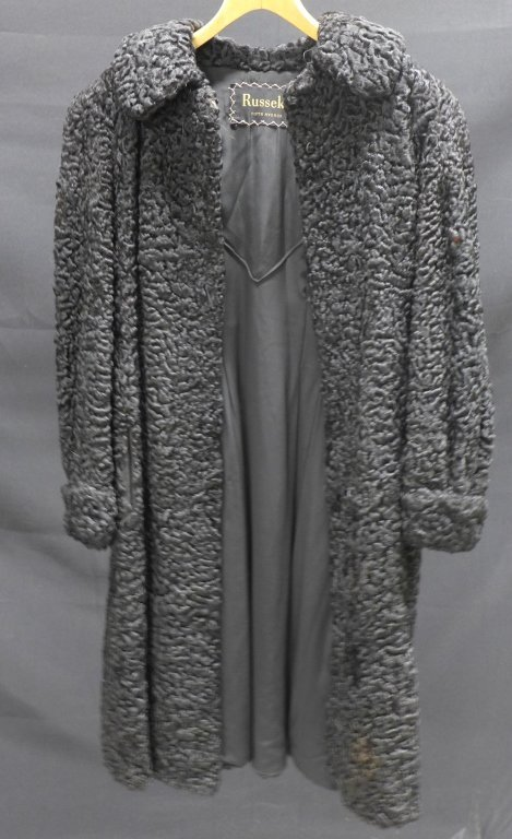 Russeks Curly Black Fur Coat