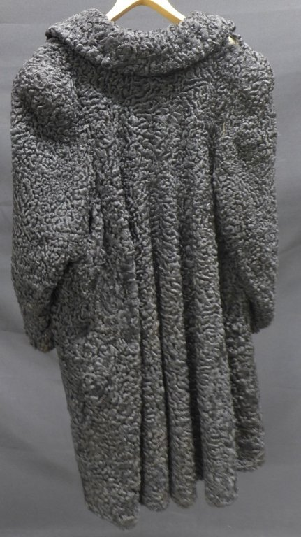 Russeks Curly Black Fur Coat - 5