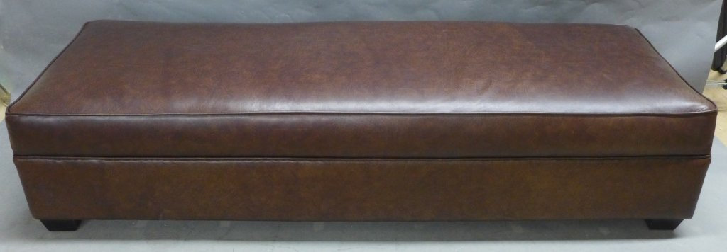Oversized Brown Leather Bench