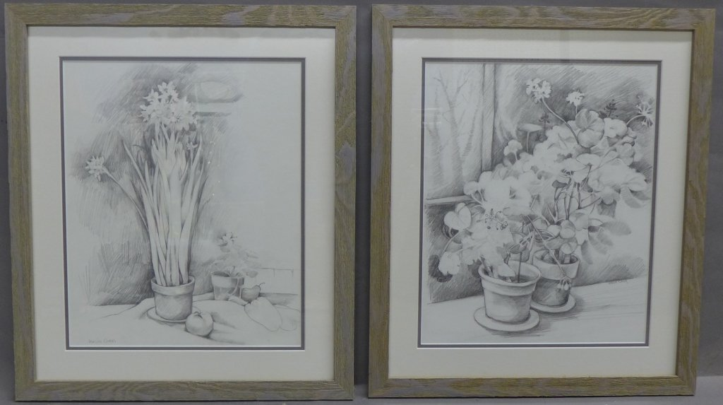 Pair of Floral Still Life Pencil Drawings
