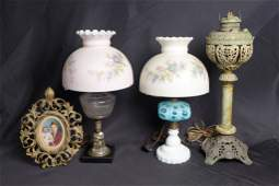 Group of Victorian Lamps and Picture Frame