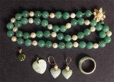 Jade, Gold and Pearl Jewelry Assortment.